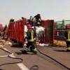 Incendio in Pedemontana: brucia cassone di carta
