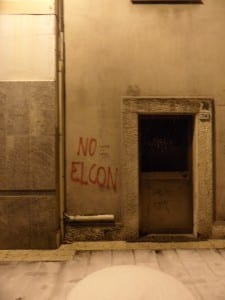 Graffito No Elcon corso Italia Saronno