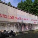 Muro imbrattato al Matteotti
