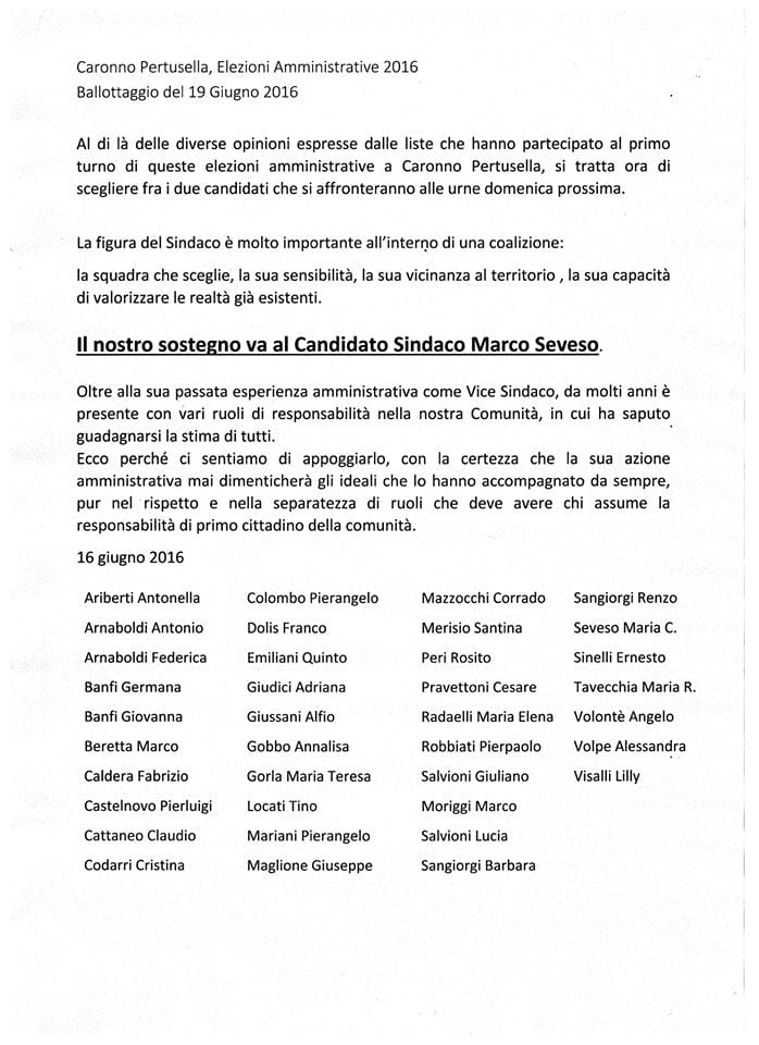lettera cittadini per Seveso